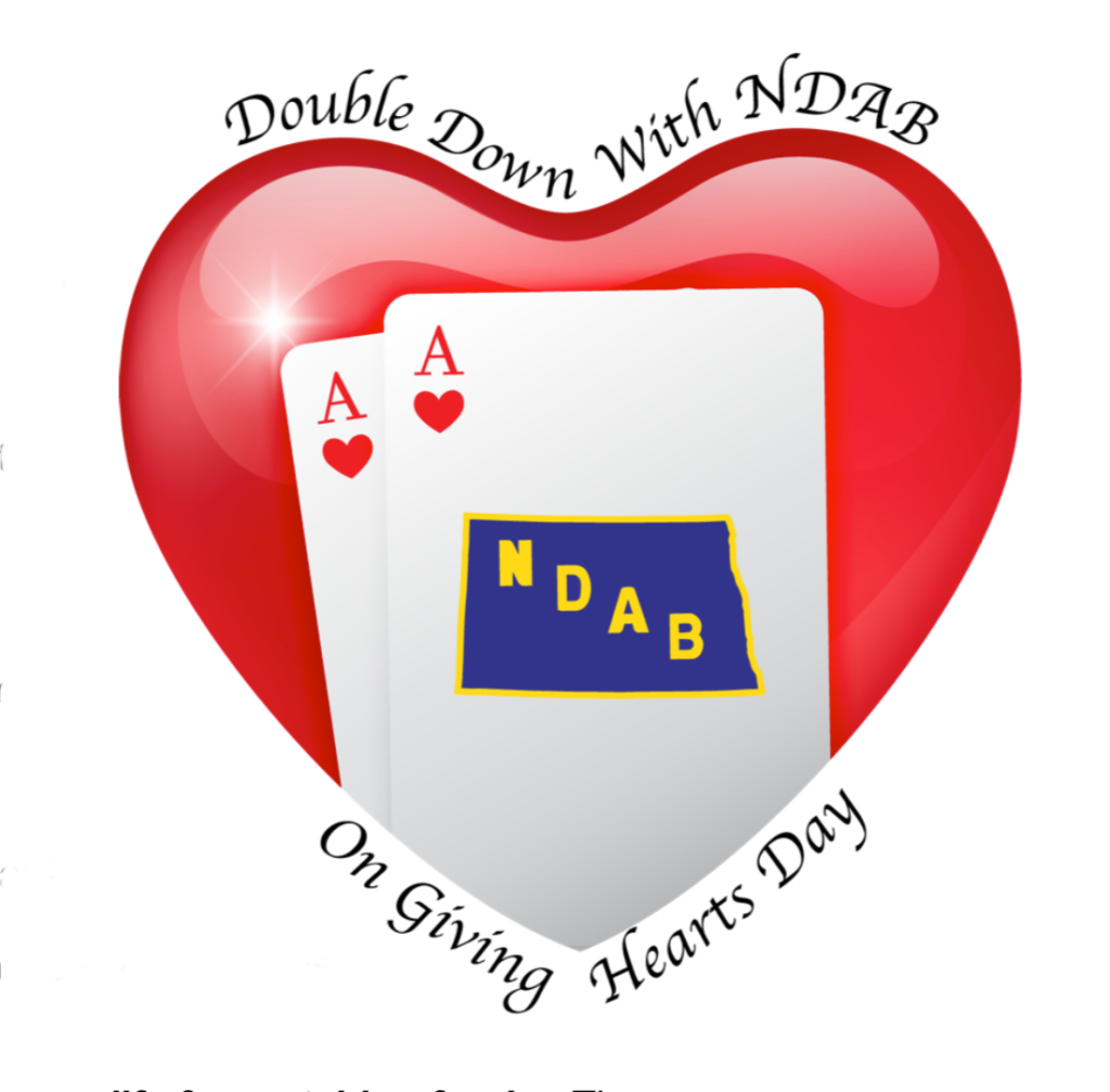 A big red love heart with two playing cards over the top. The top card is the Ace of Hearts with the center of the card being the NDAB logo.