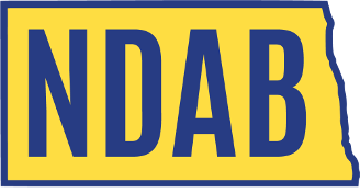NDAB Logo. A gold box in the shape of the state of ND with the letters NDAB in large blue.